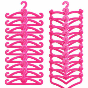 20 X Plastic Pink Hangers for Doll Dress Clothes  ACCESSORIES  HOT