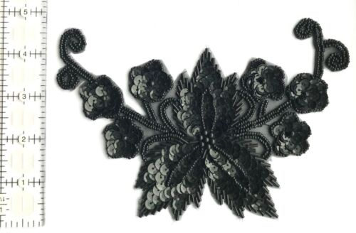 Black Large Floral Flower Beaded Sequined Sew-On Applique Craft Patch Vintage