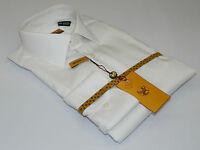 Mens Enzo Egyptian Soft Cotton Dress Shirt Barrel Cuff Wrinkle Free 61101 White
