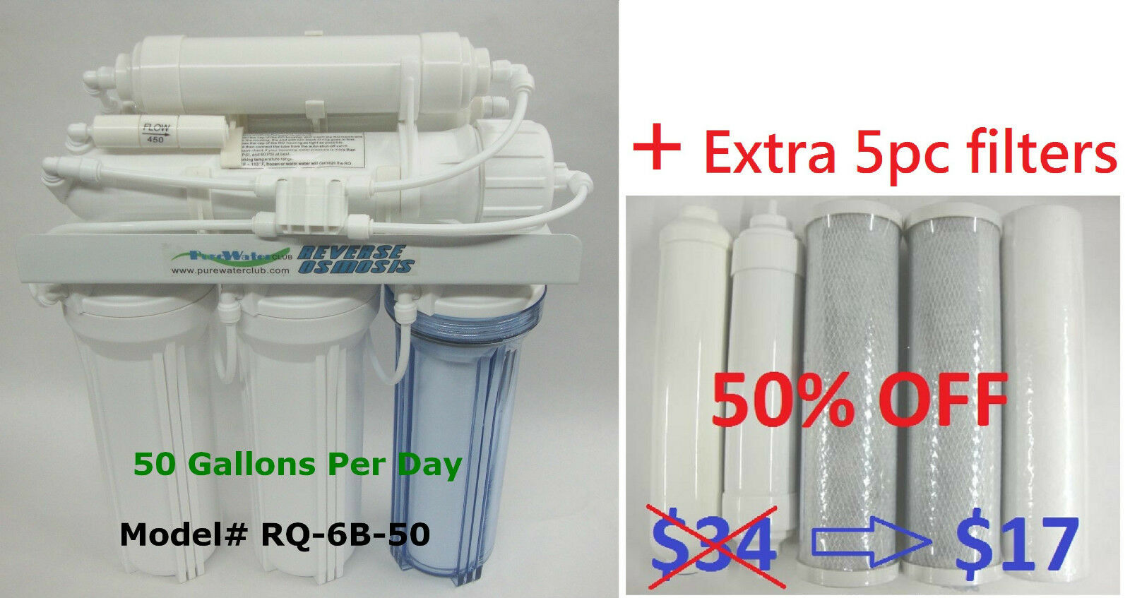 50 GPD 6st Reverse Osmosis RO DI Water Filters system + extra 5 PC replacement