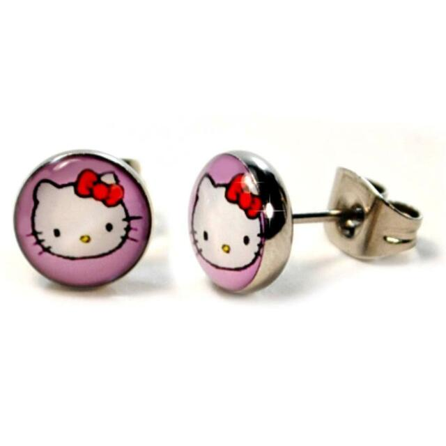 e43bca598 STAINLESS STEEL POST EARRINGS HELLO KITTY 8mm Pink Cute Girls Tiny Pair  Stud NEW