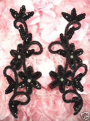 """PURPLE BEADED SEQUIN APPLIQUES MIRROR PAIR SEWING CRAFTS MOTIF 7/"""" 0396"""