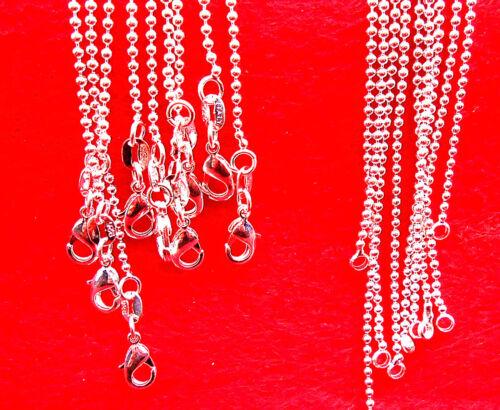 10P 16-30 in vente en gros bijoux 925 Plaqué Argent Perles Balle Chaîne Colliers NEUF