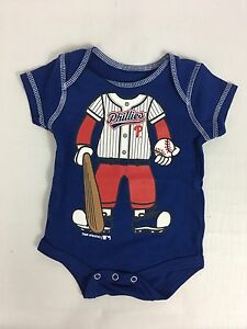 the best attitude f59fa 9dff4 Details about NWOT Philadelphia Phillies Baby Infant One-Piece Romper Blue  Snap Suit 0-3 Mo.