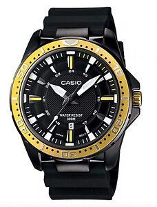 Casio Watch * MTD1072-9AV Gold & Black Steel Case Silicone Strap COD PayPal