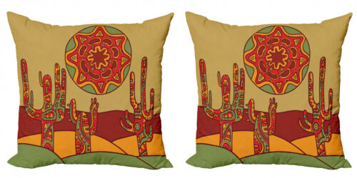Stammes 2 Teiliges Kissenbezugs Set Tribal Design Kaktus