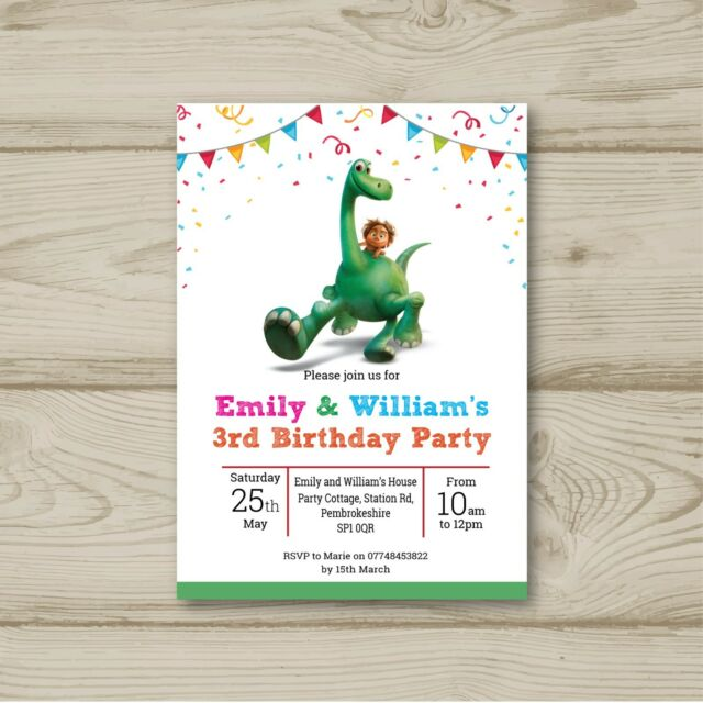 10 Personalised Birthday Party Invitations The Good Dinosaur Bunting