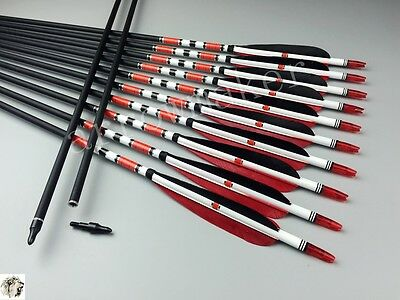 Handmade Red Black Fletching Carbon arrows Hunting Spine 500 Lot arrows Archery