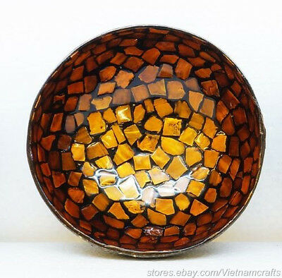 Fair Trade Coconut Bowl with Mother of Pearl Inlay Style B Orange