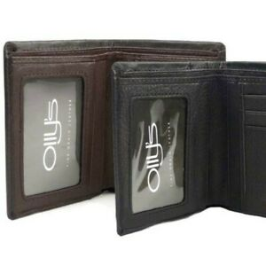 Mens-Fine-Grain-Leather-Slim-Bi-Fold-Wallet-by-Ollys-Bobby-Collection-Gift-Boxe