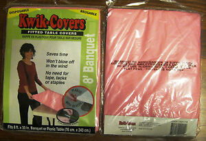 Kwik Covers Fitted Banquet Picnic Table Quick Cover 8 X 30 Pink