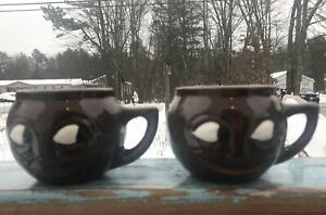 Set-Of-2-Man-in-the-Moon-034-Brown-McCoy-Studio-Art-Pottery-Smiling-Face-Mugs-USA
