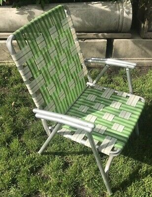 Vintage Lawn Chair Mid Century Aluminum Green Folding