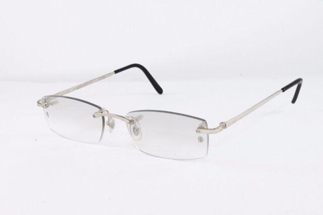 2ee02756efe Cartier Platinum Rimless Sunglasses T8100573 Grey Lens Authentic France. +.   1