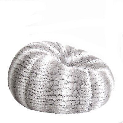 Terrific Fur Beanbag Cover Insert Soft Silver Grey White Husky Bean Bag Lounge Chair Ebay Ncnpc Chair Design For Home Ncnpcorg