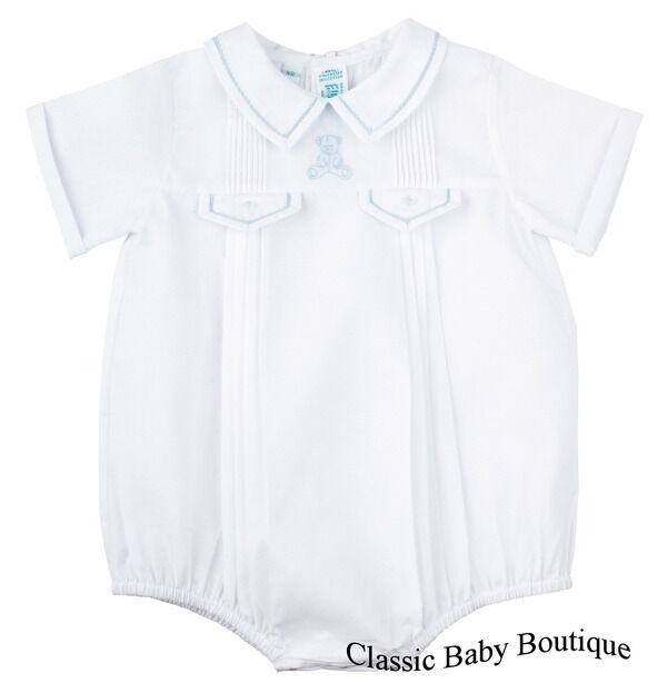 NWT Feltman Bros Brothers Boys White Teddy Bear Creeper Romper Newborn Baby
