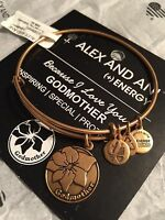Alex And Ani Beause I Love You Godmother Gold Tone Bangle Bracelet W/pouch