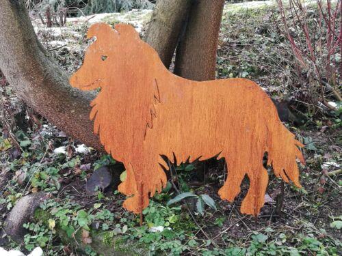 Edelrost Metall Gartenstecker   Hund Tier Collie