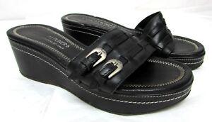Donald-J-Pliner-women-039-s-size-8-M-black-slides-sandals-leather-Med-heel