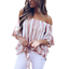 New-Womens-Striped-Loose-Sexy-Off-Shoulder-Blouse-Tops-Baggy-Casual-T-Shirt-Top thumbnail 5