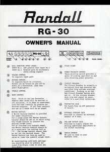 randall instruments rg 30 guitar mixer eq equalizer original owner s rh ebay com Car Owners Manual Repair Manuals
