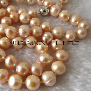 """34"""" 9-11mm Peach Pink Off Round Freshwater Pearl Necklace Fashion Jewelry U"""