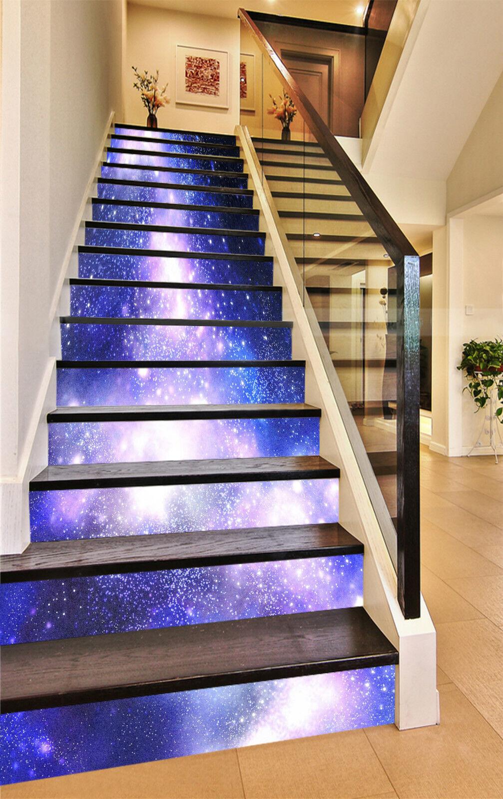 3D Funkelnde Sterne Stair Risers Dekoration Fototapete Vinyl Aufkleber Tapete DE
