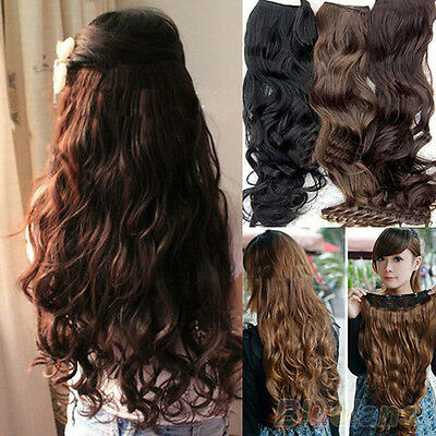 Fashion Full Head Clip Curly Wavy Women Synthetic Hair Extension Extensions BF4U