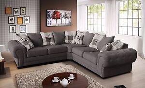 Image Is Loading Huge Corner Chesterfield Sofa Verona Grey Or Silver