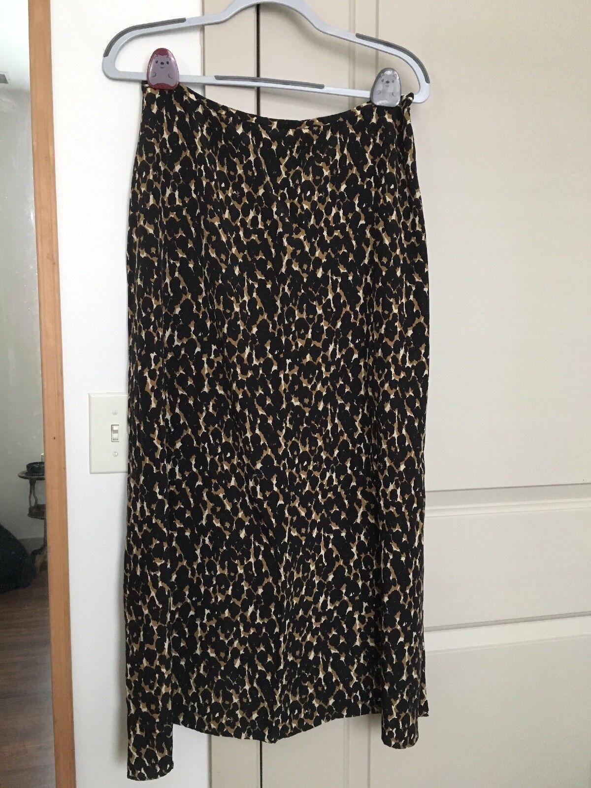 Halston Vintage Silk Leopard Skirt Size 16