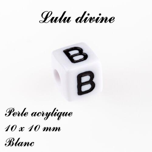 Lettre B Perle acrylique alphabétique de 10 x 10 mm Lot de 10 perles Blanc
