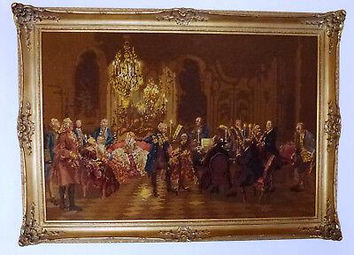 Angemessen Gobelinstickbild, Höfische Szene, Sinfoniekonzert, Topzustand Clear-Cut-Textur