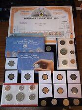 Huge JUNK Drawer Coin Lot Mint Set+Old Coins+Stock Cert+Half Dollars+World Coins