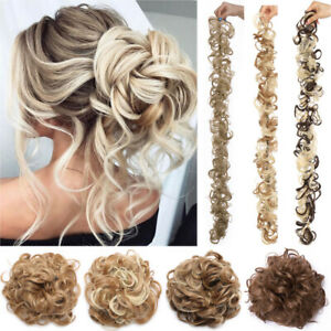 Details About Real Thick Hair Extension Scrunchie Wrap Messy Bun Updo Curly Ponytail Chignon