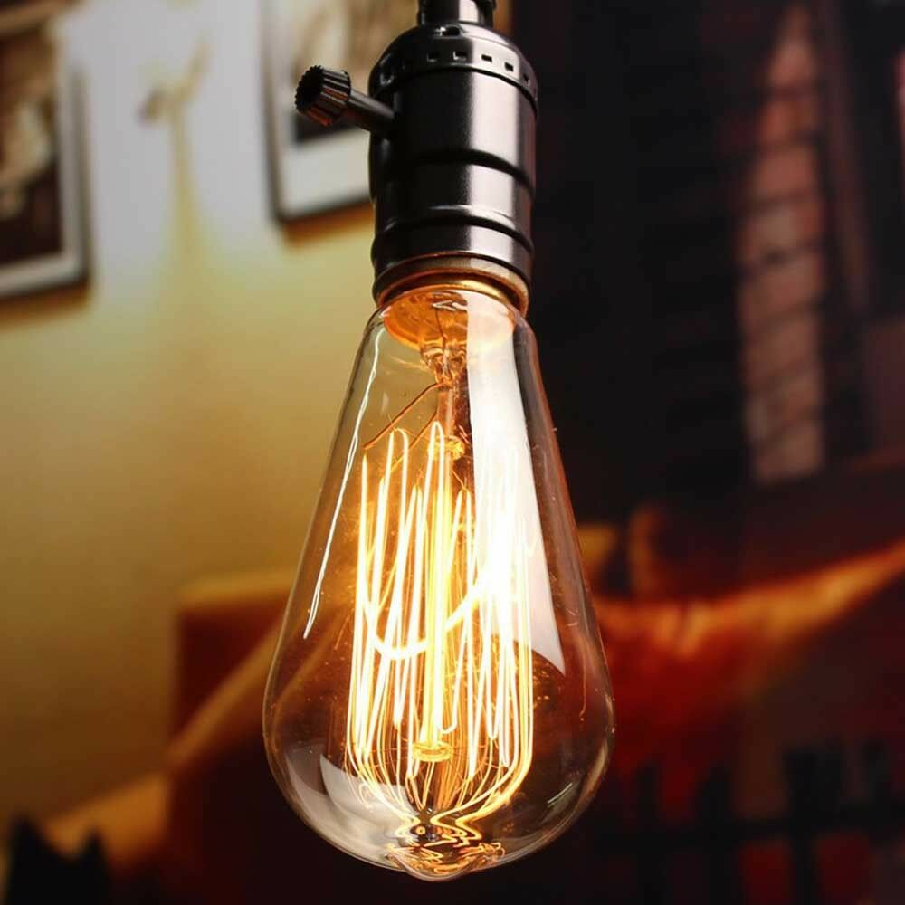 60W Filament Light Bulb Edison Vintage Squirrel Cage Industrial ST64 B22   E27