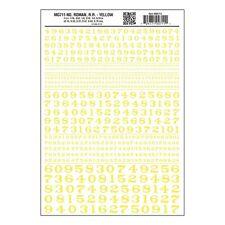 Numbers Dry Transfer Sheet, Roman RR Yellow Dt - Woodland Scenics WMG711