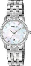 Citizen EU6030-56D Women's Stainless Steel Swarovski Accented MOP Dial Watch