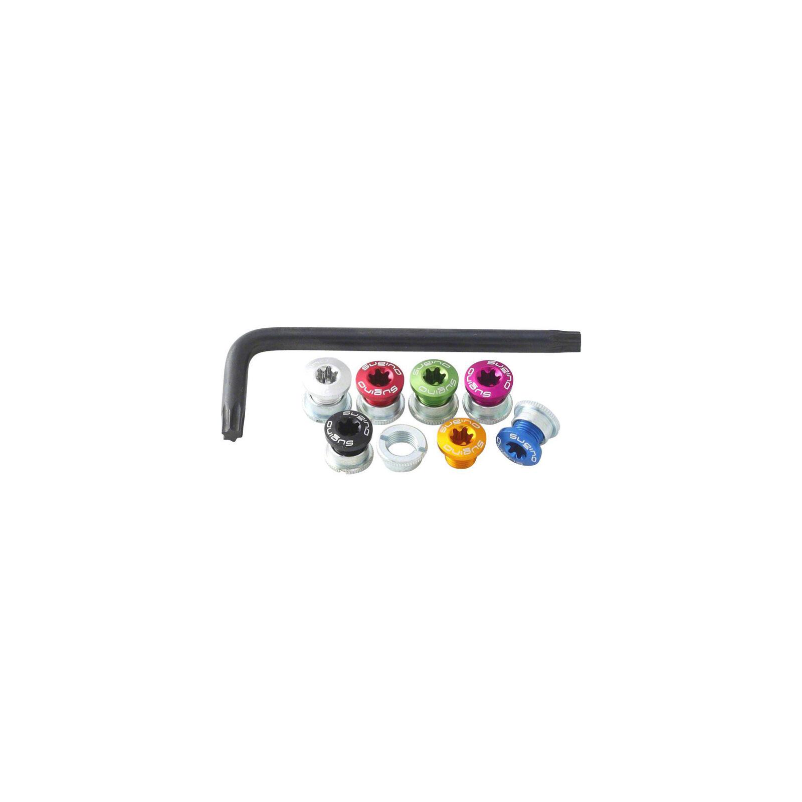 Sugino Single Chainring Bolt Set 6mm Torx 7pc. Rainbow