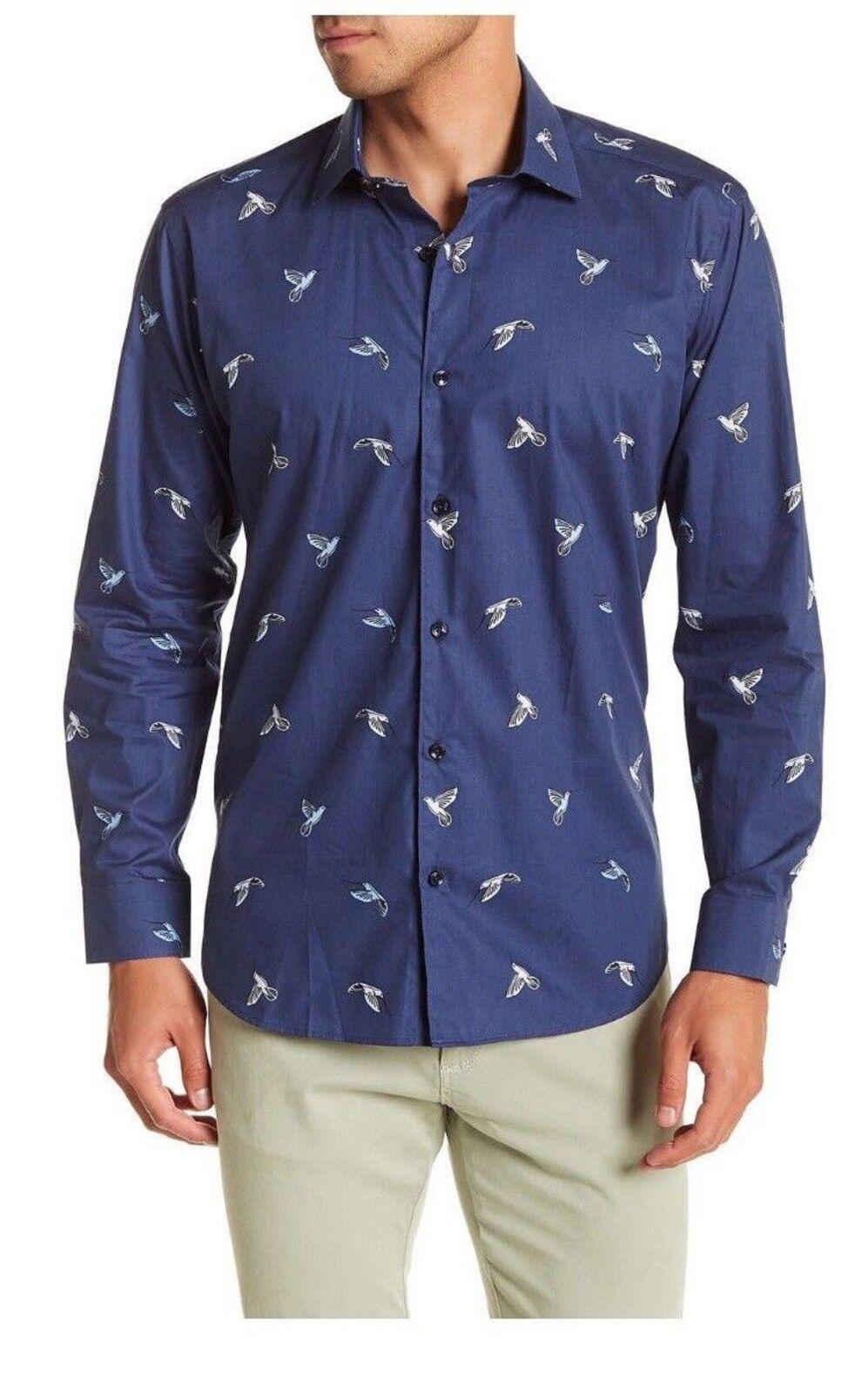 Jared Lang Men's bluee Hummingbird Semi Fitted Long Sleeve Button Front Shirt