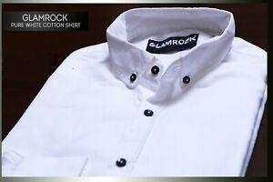 Men-039-s-Casual-Pure-White-Cotton-Shirt-Button-Down-Long-Sleeve-Regular-Large