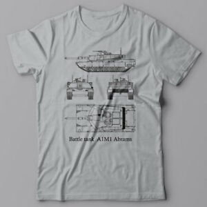 fe4a073980fb7 Details about Battle Tank A1M1 Abrams - T-shirt, military blueprint Tee,  Army, World of tanks