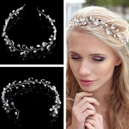 Pearls Wedding Hair Vine Crystal Bridal Accessories Diamante Headdress Headpiece