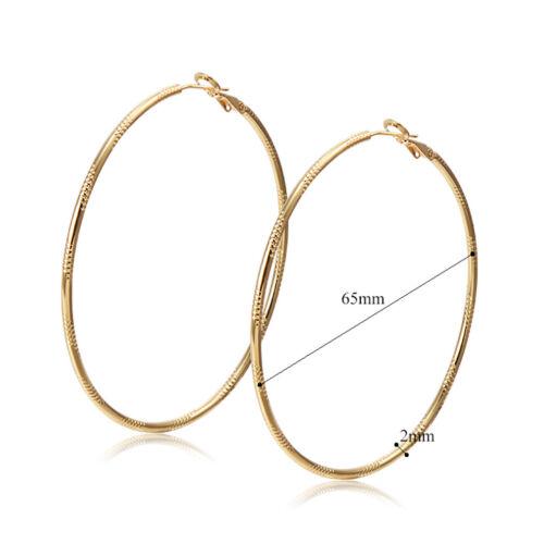 VINTAGE Boucles doreilles or jaune rempli pour femme Big Round Hoop Boucles D/'oreilles Déclaration Lot