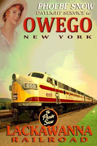 OWEGO New York Lackawanna Railroad PHOEBE SNOW Train Poster Art Print 060