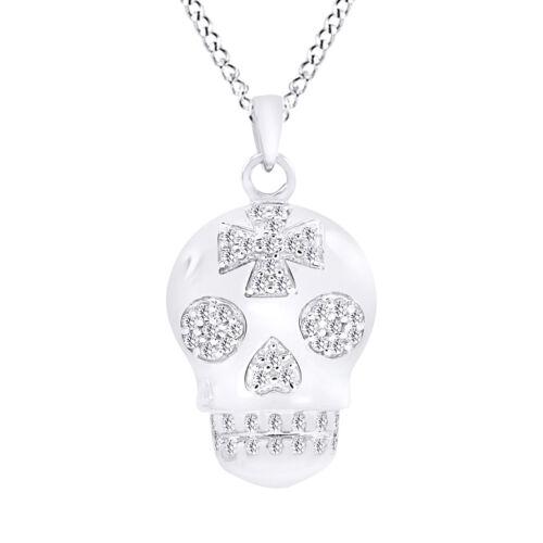 Sterling Rond Sucre Crâne Croix collier pendentif 1 ct