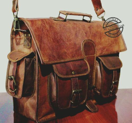 Real Men/'s Genuine Vintage Brown Leather Messenger Shoulder Laptop Bag Briefcase
