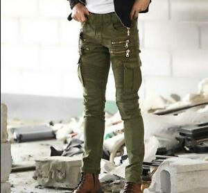 selected material best shoes choose best Details about Punk Mens Biker Skinny Pants Zipper Cargo Trousers Casual Mid  Rise Overalls Pant