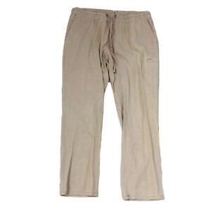 Sportscraft-Linen-Viscose-Blend-Pants-Women-039-s-Size-14-Beige-Drawstring-Waist