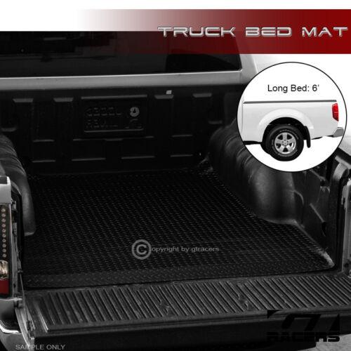 "For 2005-2018 Frontier 6 Feet 72/"" Black Rubber Diamond Truck Bed Rug Floor Mat"
