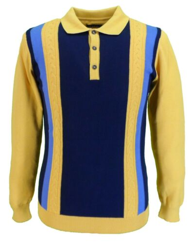 Ska & Soul Mens Gold Cable Front Striped Knitted Polo Shirt